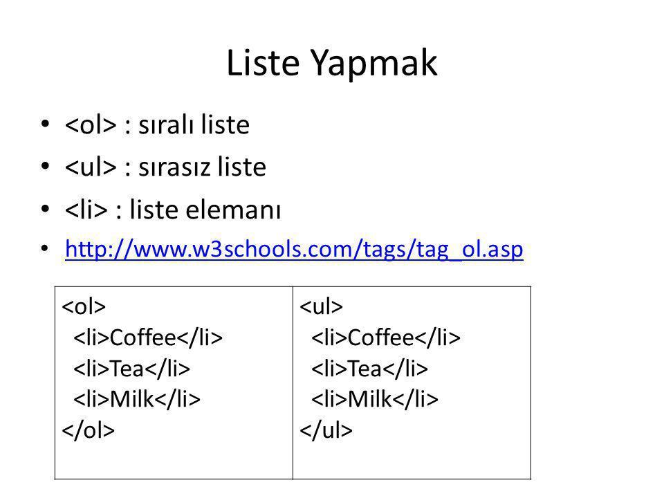 Liste Yapmak • : sıralı liste • : sırasız liste • : liste elemanı • http://www.w3schools.com/tags/tag_ol.asp http://www.w3schools.com/tags/tag_ol.asp