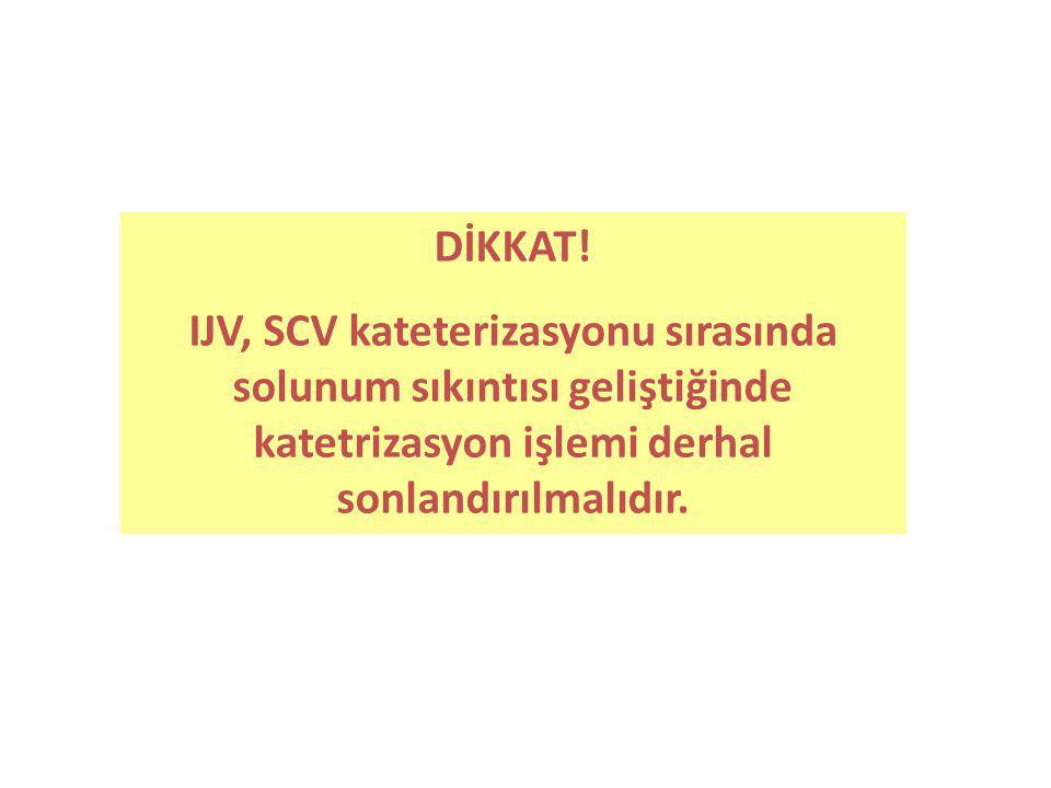 DİKKAT! IJV, SCV kateterizasyonu sırasında solunum sıkıntısı geliştiğinde katetrizasyon işlemi derhal sonlandırılmalıdır.