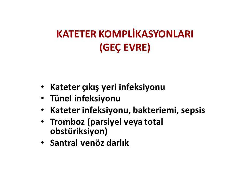 KATETER KOMPLİKASYONLARI (GEÇ EVRE) • Kateter çıkış yeri infeksiyonu • Tünel infeksiyonu • Kateter infeksiyonu, bakteriemi, sepsis • Tromboz (parsiyel