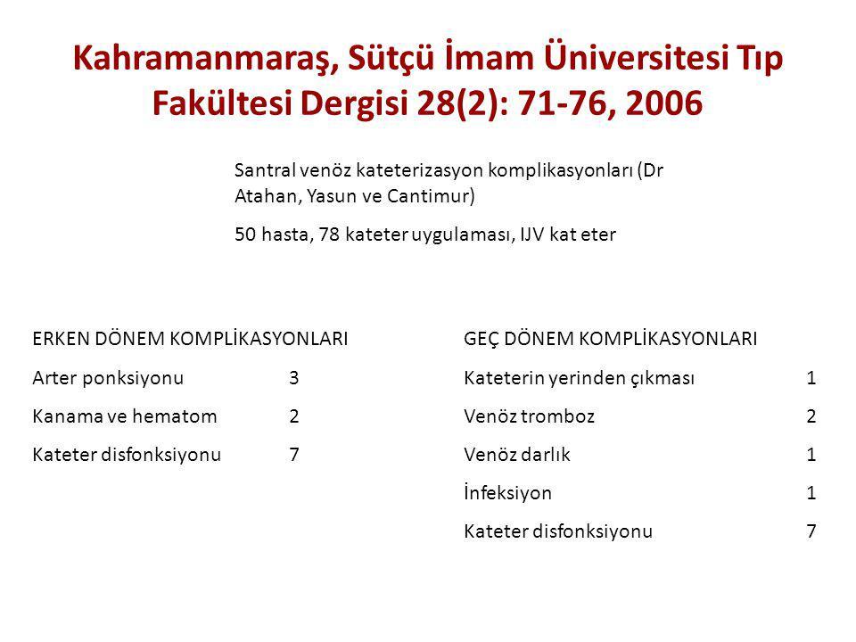 Kahramanmaraş, Sütçü İmam Üniversitesi Tıp Fakültesi Dergisi 28(2): 71-76, 2006 Santral venöz kateterizasyon komplikasyonları (Dr Atahan, Yasun ve Can