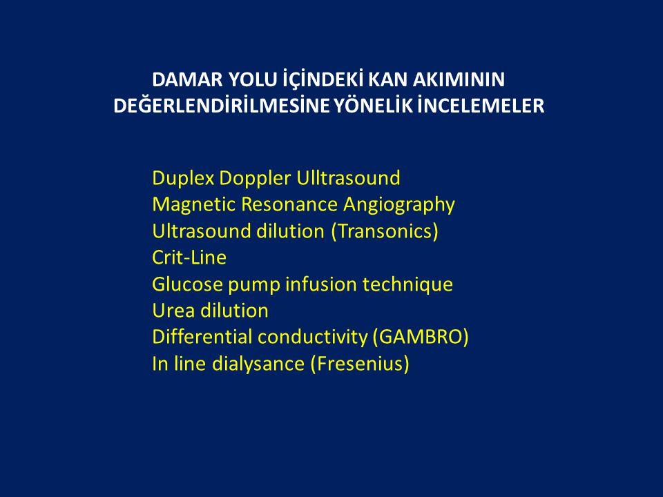 DAMAR YOLU İÇİNDEKİ KAN AKIMININ DEĞERLENDİRİLMESİNE YÖNELİK İNCELEMELER Duplex Doppler Ulltrasound Magnetic Resonance Angiography Ultrasound dilution