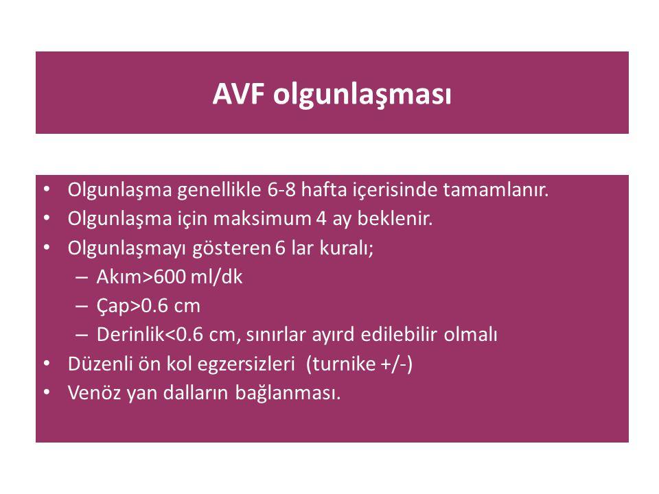 AVF olgunlaşması • Olgunlaşma genellikle 6-8 hafta içerisinde tamamlanır. • Olgunlaşma için maksimum 4 ay beklenir. • Olgunlaşmayı gösteren 6 lar kura