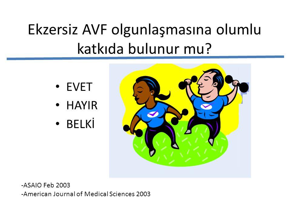 Ekzersiz AVF olgunlaşmasına olumlu katkıda bulunur mu? • EVET • HAYIR • BELKİ -ASAIO Feb 2003 -American Journal of Medical Sciences 2003