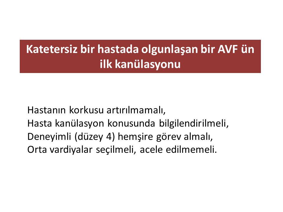 Katetersiz bir hastada olgunlaşan bir AVF ün ilk kanülasyonu Hastanın korkusu artırılmamalı, Hasta kanülasyon konusunda bilgilendirilmeli, Deneyimli (