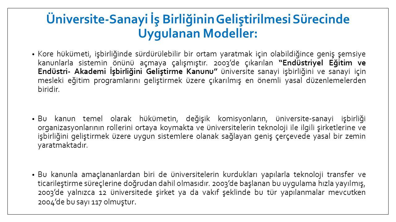 Üniversite-Sanayi İş Birliğinin Geliştirilmesi Sürecinde Uygulanan Modeller: • Kore hükümeti, işbirliğinde sürdürülebilir bir ortam yaratmak için olab