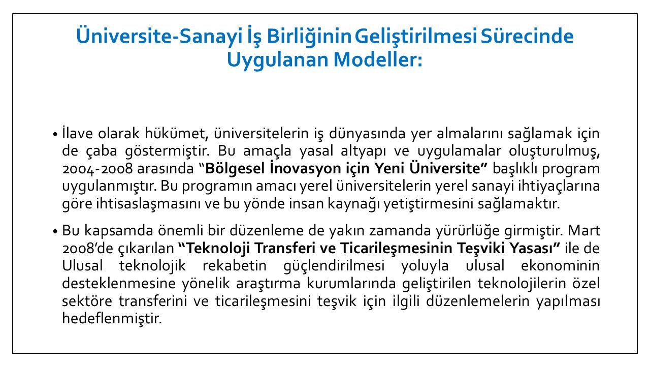 Üniversite-Sanayi İş Birliğinin Geliştirilmesi Sürecinde Uygulanan Modeller: • İlave olarak hükümet, üniversitelerin iş dünyasında yer almalarını sağl