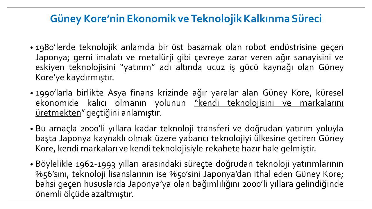 Güney Kore'nin Ekonomik ve Teknolojik Kalkınma Süreci • 2000'li yıllar itibariyle kendi teknolojisini kullanarak kendi markalarını üretmeye başlayan Güney Kore'nin bu süreçte uyguladığı başlıca stratejiler ise şunlardır:  Teknoloji ve Bilim Bakanlığının kurulması  KOBİ'lerin teknoloji yatırımlarına ve Ar-Ge faaliyetlerine faizsin kredi ve teşvikler verilmesi  Başta Daeduck Teknokenti olmak üzere devlet eliyle teknokentler ve silikon vadilerinin kurulması  Yükseköğretimde teknolojik üretim odaklı çalışmalara teşvik ve primler verilmesi  Ar-Ge konusunda başarılı kuruluşların her yıl açıklanıp ödüllendirilmesi
