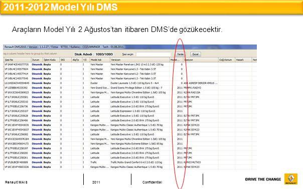 Renault MAIS2011Confidential 2011-2012 Model Yılı DMS Araçların Model Yılı 2 Ağustos'tan itibaren DMS'de gözükecektir.