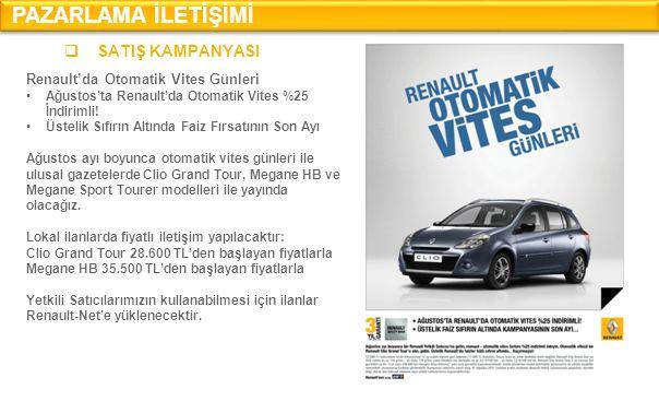 PAZARLAMA İLETİŞİMİ  SATIŞ KAMPANYASI Renault'da Otomatik Vites Günleri •Ağustos'ta Renault'da Otomatik Vites %25 İndirimli.