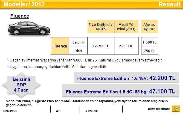 Renault MAIS2011Confidential Fluence Fiyat Değişimi / ANTES Model Yılı Primi (2011) Ağustos Ayı EKP Fluence Benzinli +2.700 TL2.000 TL 1.500 TL Dizel 750 TL Fluence Extreme Edition 1.6 16V: 42.200 TL Benzinli SDP 4 Puan Benzinli SDP 4 Puan Fluence Extreme Edition 1.5 dCi 85 bg: 47.100 TL Modeller / 2012 Renault * Geçen ay İnternet fiyatlarına yansıtılan 1.000 TL'lik YS Katılımı Uygulaması devam etmektedir.