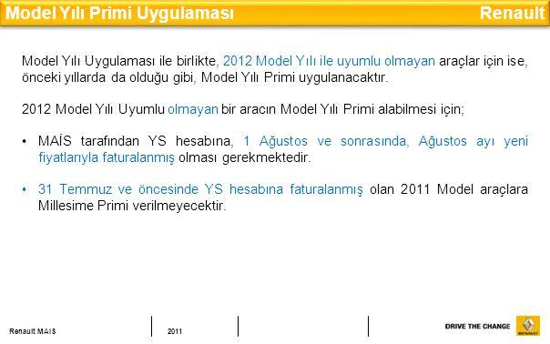 Renault MAIS2011 Model Yılı Primi Uygulaması Renault Model Yılı Uygulaması ile birlikte, 2012 Model Yılı ile uyumlu olmayan araçlar için ise, önceki yıllarda da olduğu gibi, Model Yılı Primi uygulanacaktır.