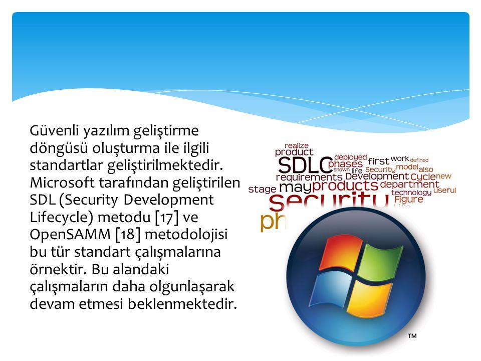 Güvenli yazılım geliştirme döngüsü oluşturma ile ilgili standartlar geliştirilmektedir. Microsoft tarafından geliştirilen SDL (Security Development Li