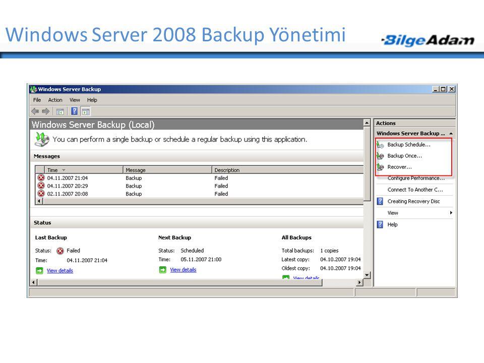 Windows Server 2008 Backup Yönetimi