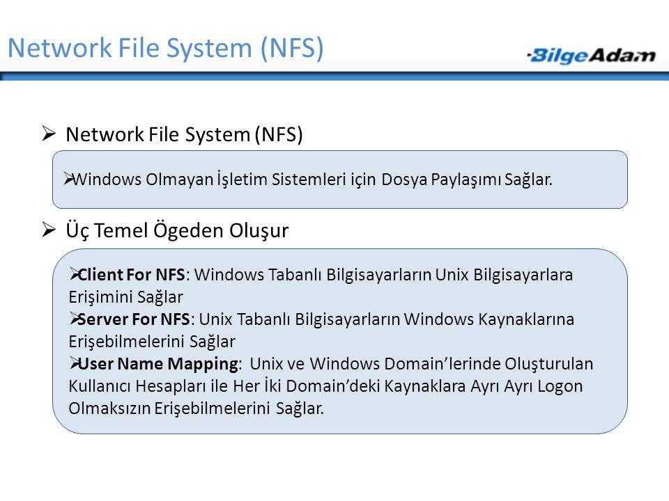 Network File System (NFS)  Network File System (NFS)  Üç Temel Ögeden Oluşur  Windows Olmayan İşletim Sistemleri için Dosya Paylaşımı Sağlar.  Cli