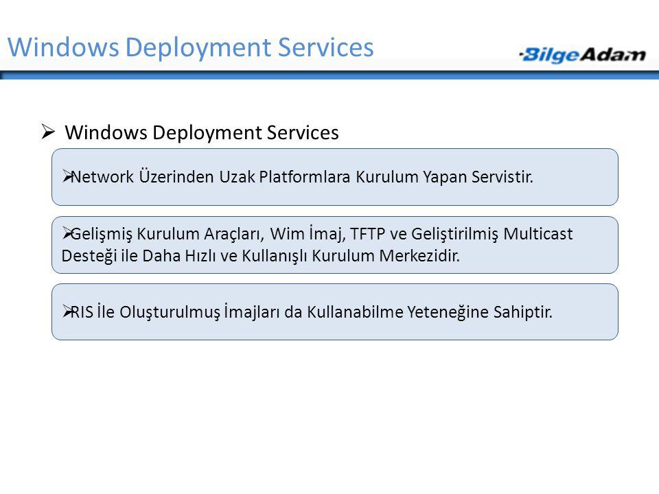 Windows Deployment Services  Windows Deployment Services  Network Üzerinden Uzak Platformlara Kurulum Yapan Servistir.  Gelişmiş Kurulum Araçları,