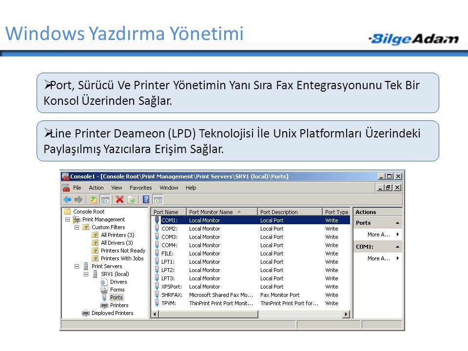 Windows Yazdırma Yönetimi  Port, Sürücü Ve Printer Yönetimin Yanı Sıra Fax Entegrasyonunu Tek Bir Konsol Üzerinden Sağlar.  Line Printer Deameon (LP