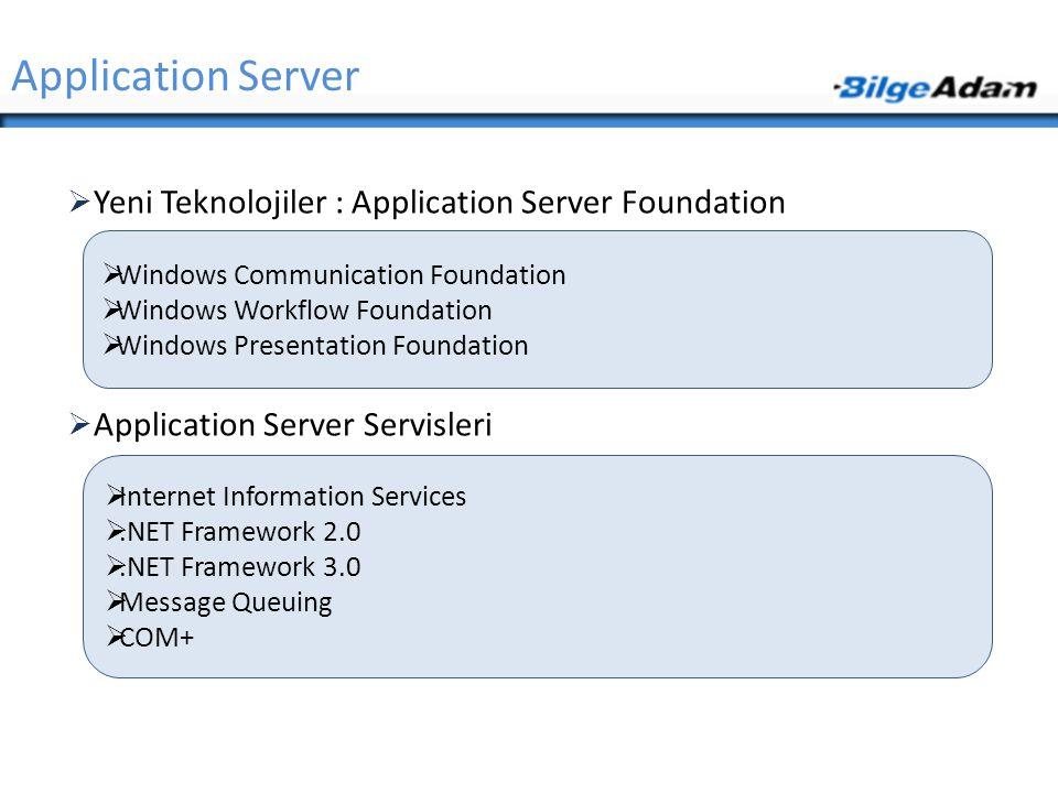  Yeni Teknolojiler : Application Server Foundation  Application Server Servisleri Application Server  Windows Communication Foundation  Windows Wo