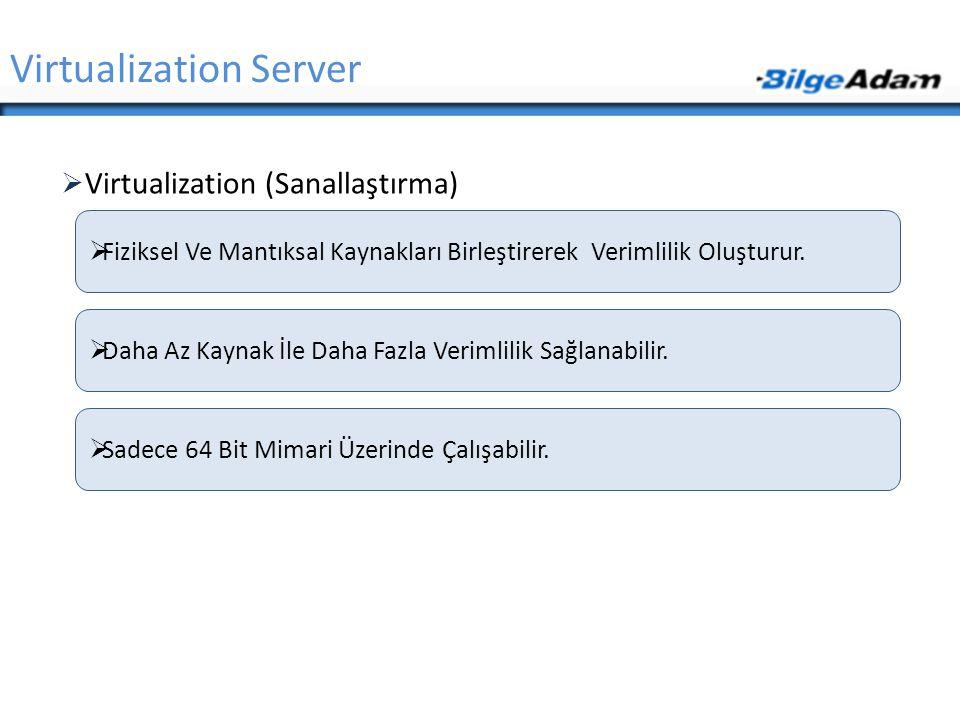  Virtualization (Sanallaştırma) Virtualization Server  Fiziksel Ve Mantıksal Kaynakları Birleştirerek Verimlilik Oluşturur.  Daha Az Kaynak İle Dah
