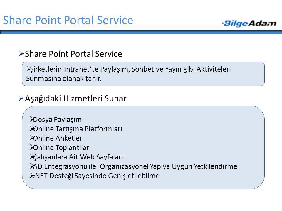  Share Point Portal Service  Aşağıdaki Hizmetleri Sunar Share Point Portal Service  Şirketlerin Intranet'te Paylaşım, Sohbet ve Yayın gibi Aktivite