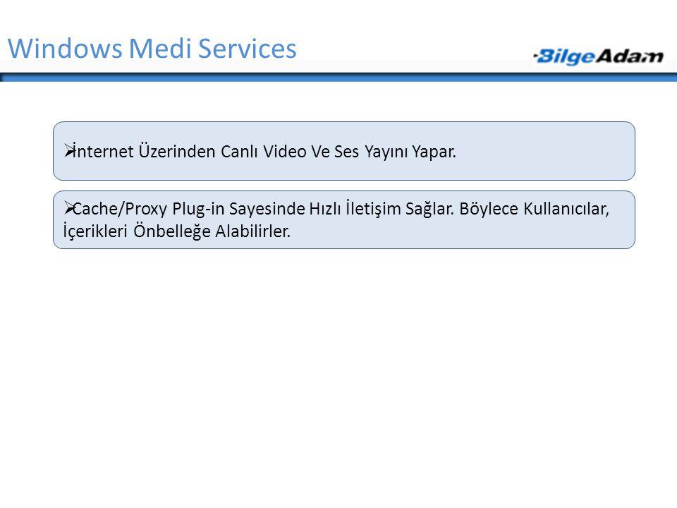 Windows Medi Services  İnternet Üzerinden Canlı Video Ve Ses Yayını Yapar.  Cache/Proxy Plug-in Sayesinde Hızlı İletişim Sağlar. Böylece Kullanıcıla