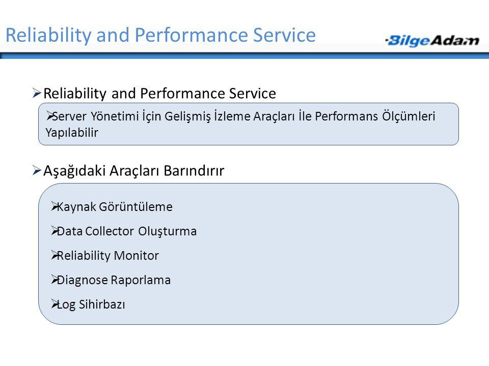  Reliability and Performance Service  Aşağıdaki Araçları Barındırır Reliability and Performance Service  Server Yönetimi İçin Gelişmiş İzleme Araçl