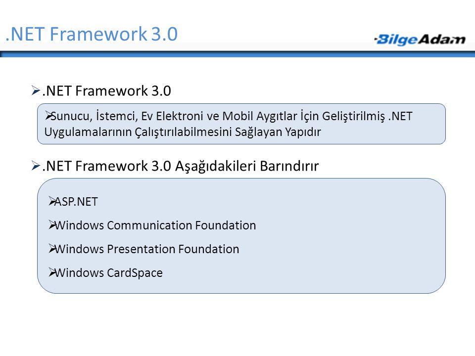 .NET Framework 3.0 .NET Framework 3.0 Aşağıdakileri Barındırır.NET Framework 3.0  Sunucu, İstemci, Ev Elektroni ve Mobil Aygıtlar İçin Geliştirilmi