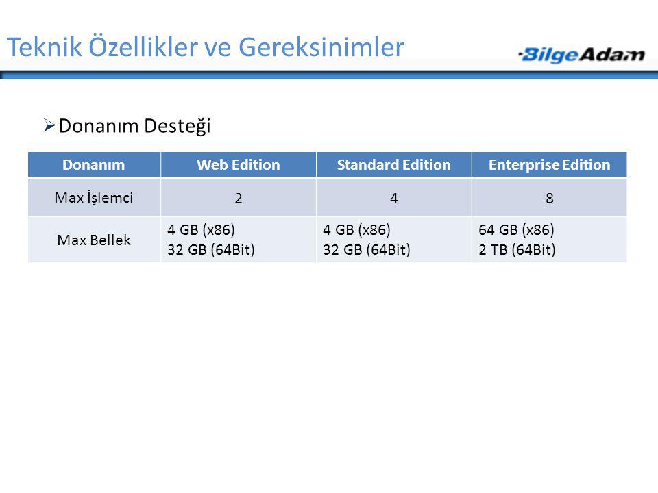 Teknik Özellikler ve Gereksinimler  Donanım Desteği DonanımWeb EditionStandard EditionEnterprise Edition Max İşlemci 248 Max Bellek 4 GB (x86) 32 GB