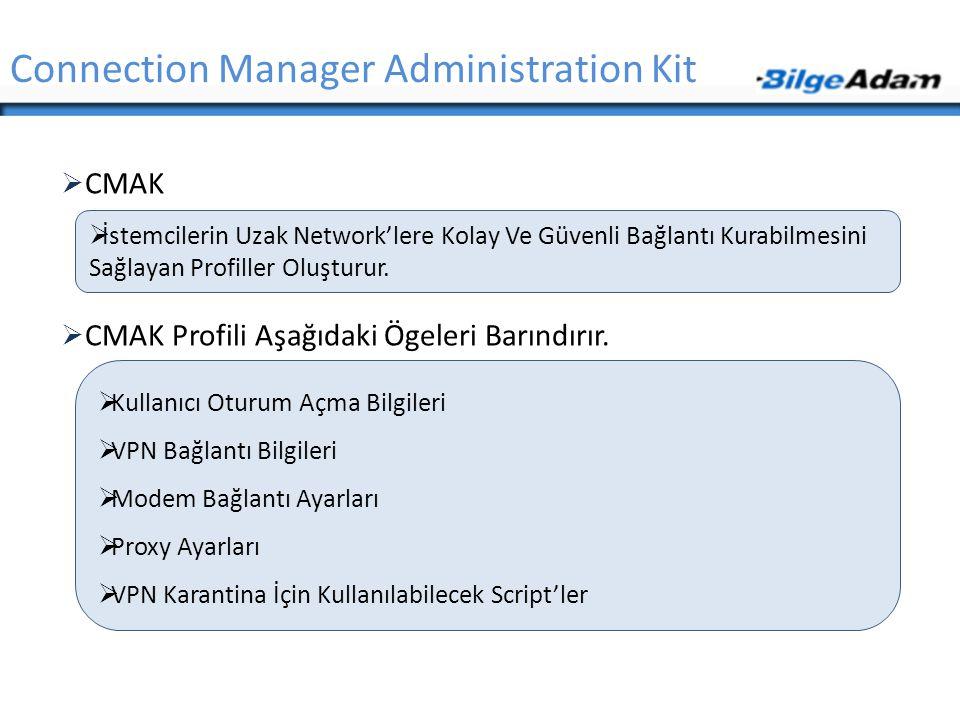  CMAK  CMAK Profili Aşağıdaki Ögeleri Barındırır. Connection Manager Administration Kit  İstemcilerin Uzak Network'lere Kolay Ve Güvenli Bağlantı K