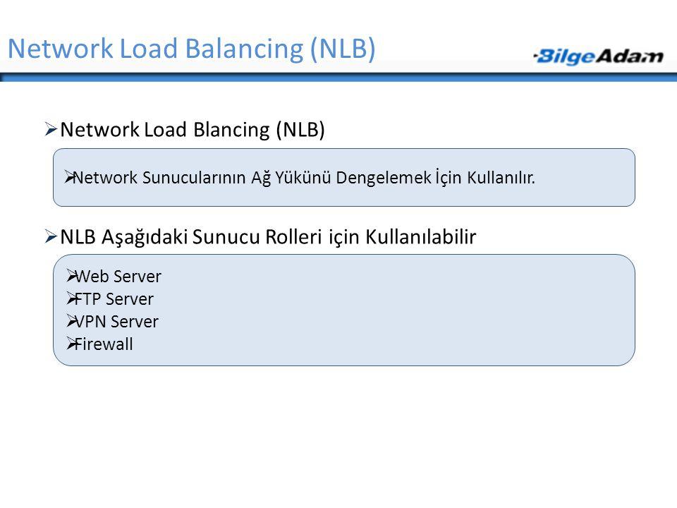  Network Load Blancing (NLB)  NLB Aşağıdaki Sunucu Rolleri için Kullanılabilir Network Load Balancing (NLB)  Network Sunucularının Ağ Yükünü Dengel