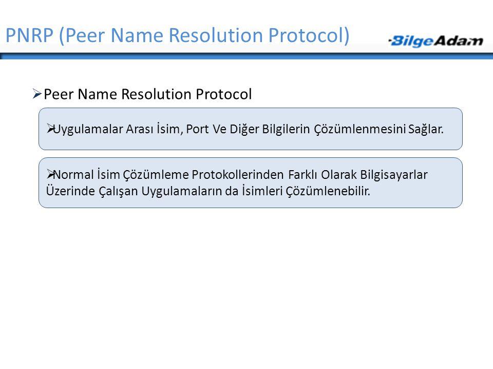  Peer Name Resolution Protocol PNRP (Peer Name Resolution Protocol)  Uygulamalar Arası İsim, Port Ve Diğer Bilgilerin Çözümlenmesini Sağlar.  Norma