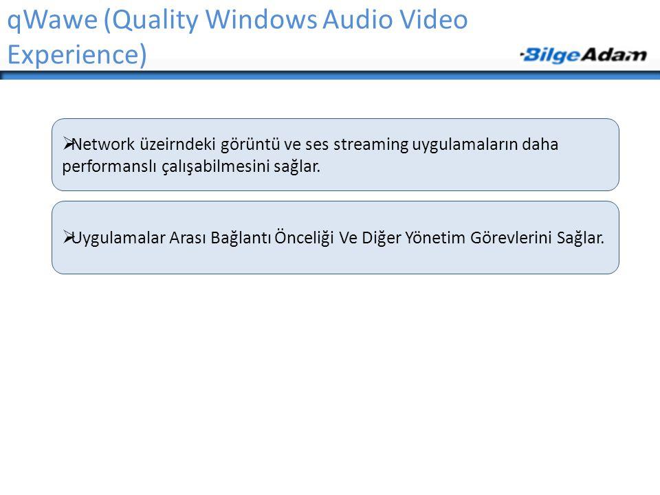 qWawe (Quality Windows Audio Video Experience)  Network üzeirndeki görüntü ve ses streaming uygulamaların daha performanslı çalışabilmesini sağlar. 
