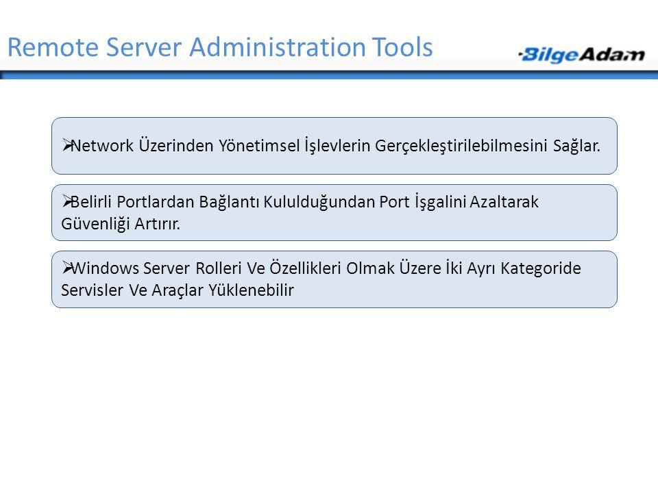 Remote Server Administration Tools  Network Üzerinden Yönetimsel İşlevlerin Gerçekleştirilebilmesini Sağlar.  Belirli Portlardan Bağlantı Kululduğun