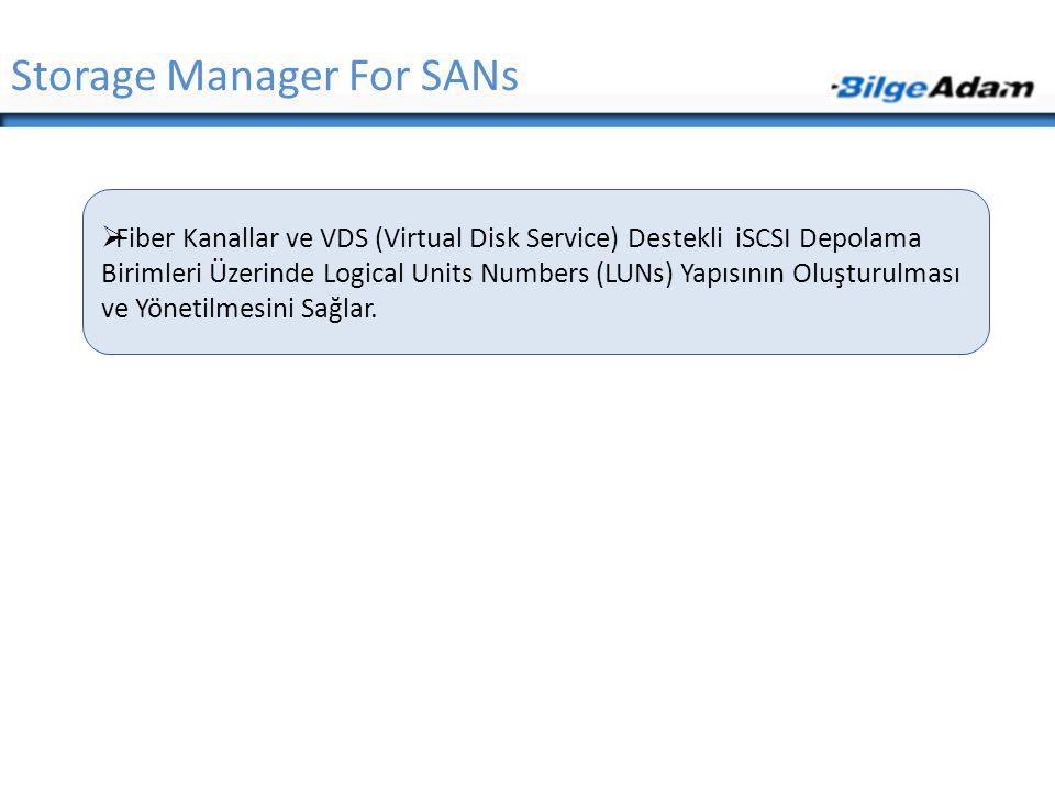 Storage Manager For SANs  Fiber Kanallar ve VDS (Virtual Disk Service) Destekli iSCSI Depolama Birimleri Üzerinde Logical Units Numbers (LUNs) Yapısı