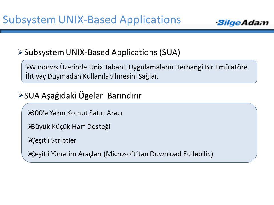  Subsystem UNIX-Based Applications (SUA)  SUA Aşağıdaki Ögeleri Barındırır Subsystem UNIX-Based Applications  Windows Üzerinde Unix Tabanlı Uygulam