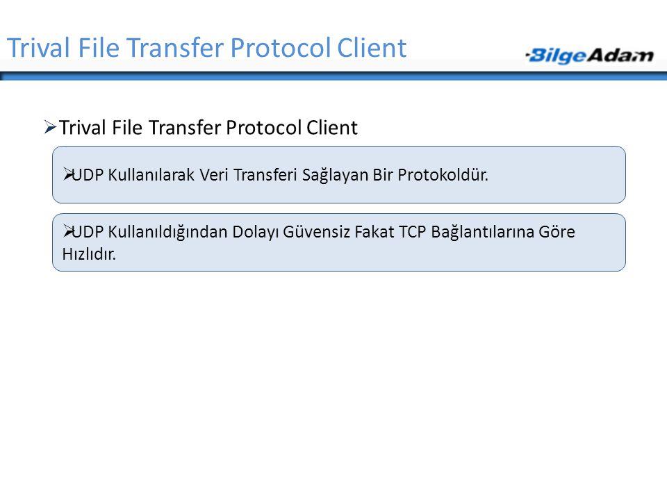  Trival File Transfer Protocol Client Trival File Transfer Protocol Client  UDP Kullanılarak Veri Transferi Sağlayan Bir Protokoldür.  UDP Kullanıl