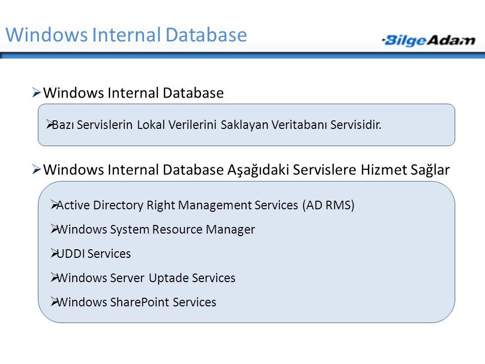  Windows Internal Database  Windows Internal Database Aşağıdaki Servislere Hizmet Sağlar Windows Internal Database  Bazı Servislerin Lokal Verileri