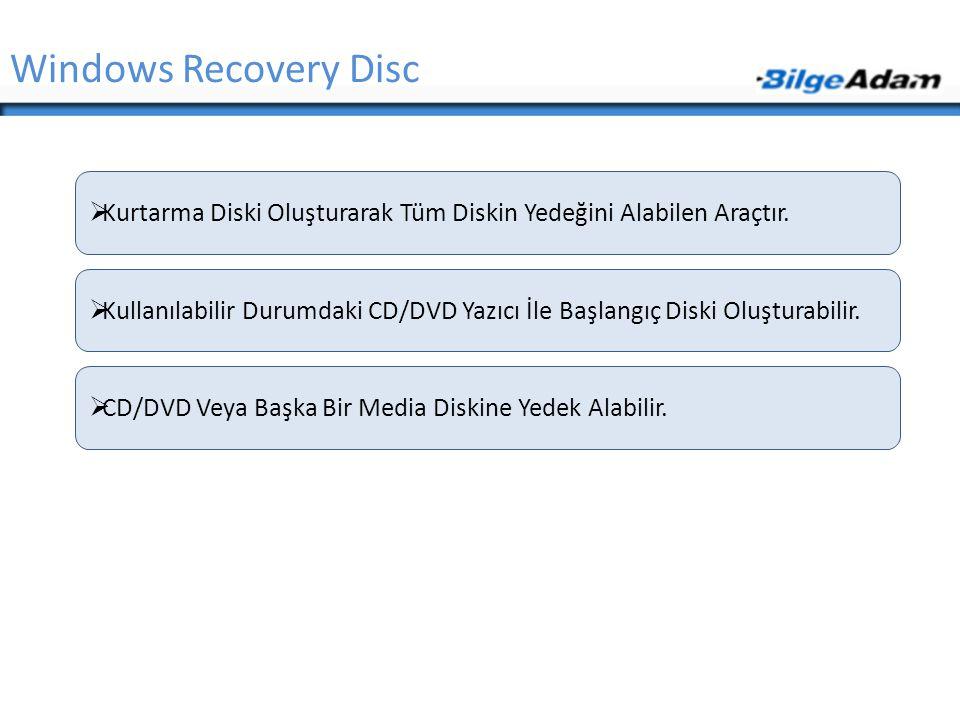 Windows Recovery Disc  Kurtarma Diski Oluşturarak Tüm Diskin Yedeğini Alabilen Araçtır.  Kullanılabilir Durumdaki CD/DVD Yazıcı İle Başlangıç Diski