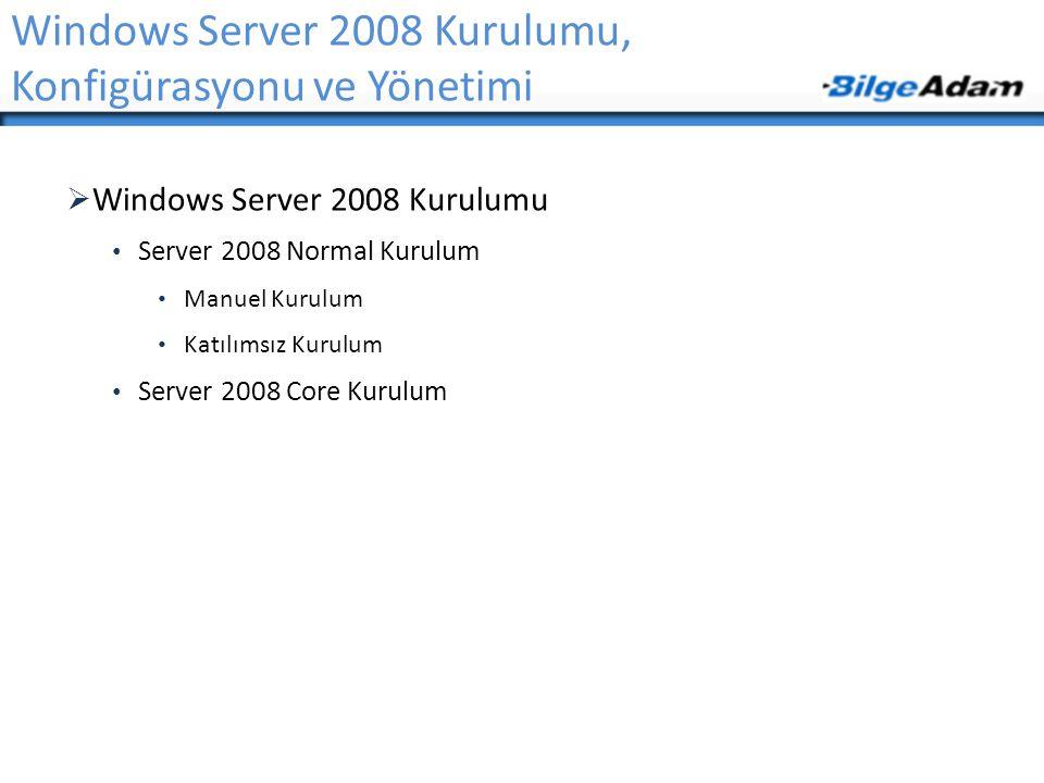  Windows Server 2008 Kurulumu • Server 2008 Normal Kurulum • Manuel Kurulum • Katılımsız Kurulum • Server 2008 Core Kurulum Windows Server 2008 Kurul
