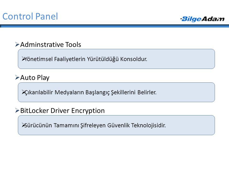  Adminstrative Tools  Auto Play  BitLocker Driver Encryption Control Panel  Yönetimsel Faaliyetlerin Yürütüldüğü Konsoldur.  Sürücünün Tamamını Ş
