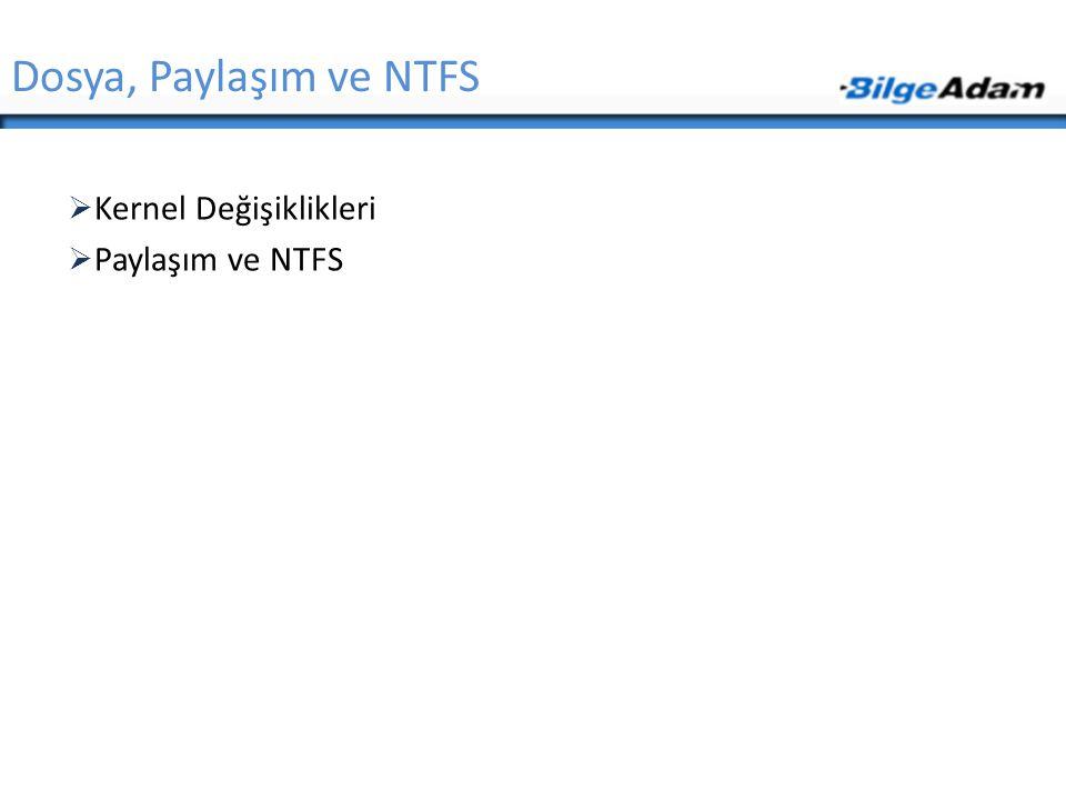  Kernel Değişiklikleri  Paylaşım ve NTFS Dosya, Paylaşım ve NTFS
