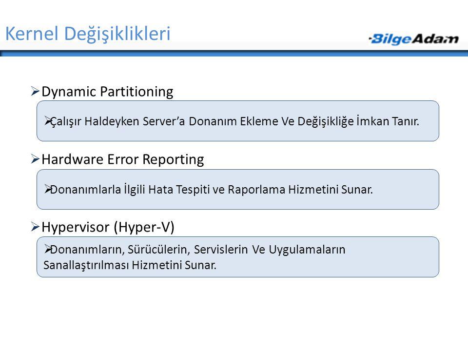  Dynamic Partitioning  Hardware Error Reporting  Hypervisor (Hyper-V) Kernel Değişiklikleri  Çalışır Haldeyken Server'a Donanım Ekleme Ve Değişikl