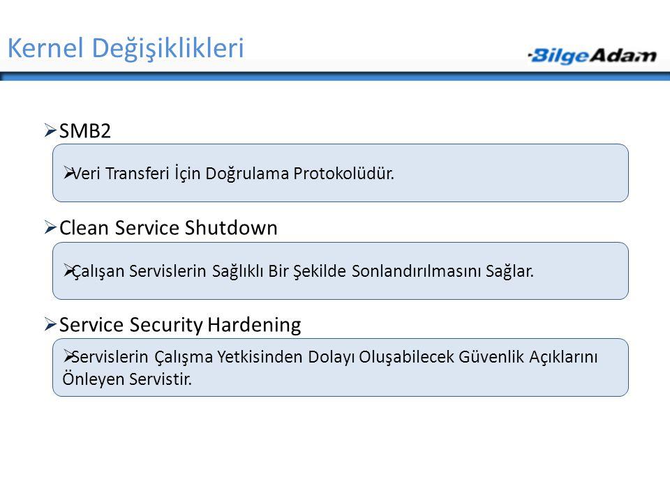  SMB2  Clean Service Shutdown  Service Security Hardening Kernel Değişiklikleri  Veri Transferi İçin Doğrulama Protokolüdür.  Servislerin Çalışma