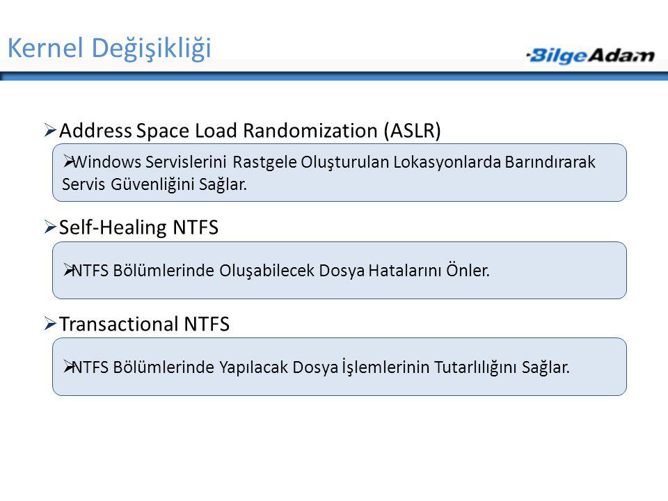  Address Space Load Randomization (ASLR)  Self-Healing NTFS  Transactional NTFS Kernel Değişikliği  Windows Servislerini Rastgele Oluşturulan Loka