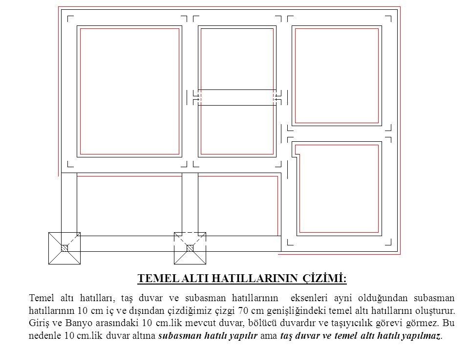 TEMEL ALTI HATILLARININ ÇİZİMİ: Temel altı hatılları, taş duvar ve subasman hatıllarının eksenleri ayni olduğundan subasman hatıllarının 10 cm iç ve d
