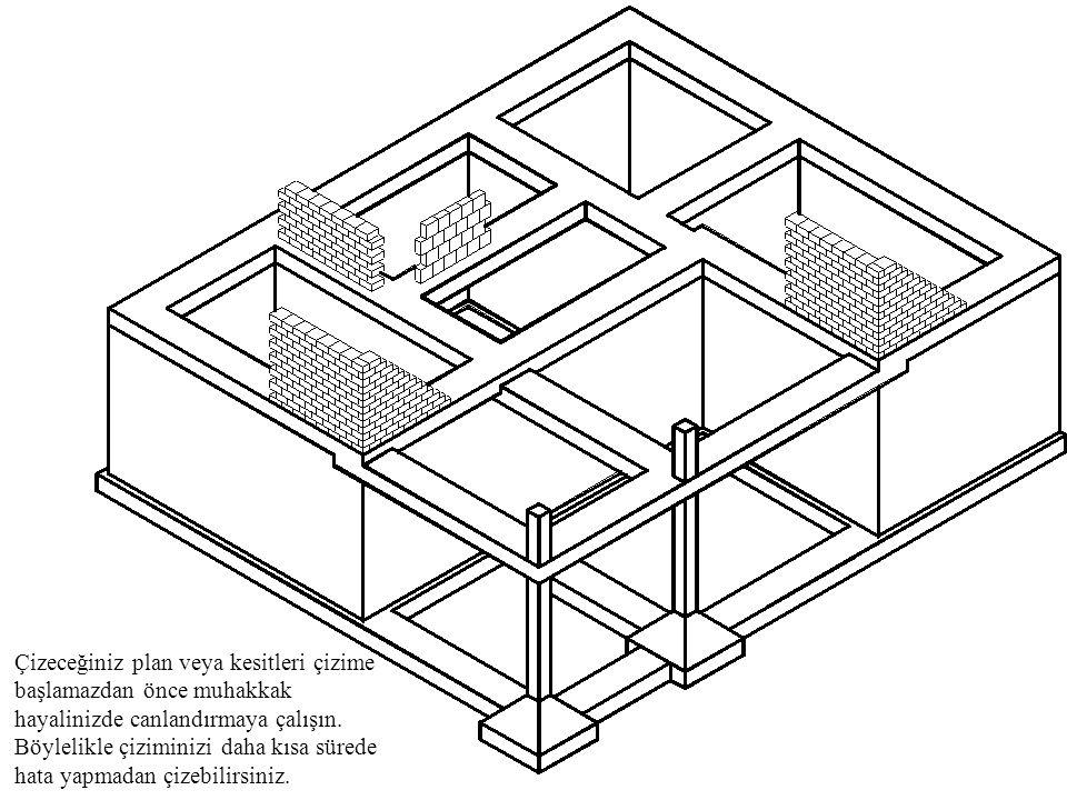 SON YAPILACAKLAR Ölçümlendirmeler yapılır, kesit çizgileri çizilir, plan adı ve ölçeği yazılır.