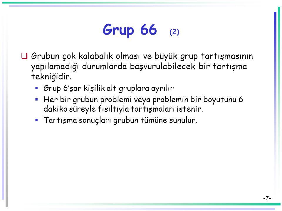 -7- Grup 66 (2)  Grubun çok kalabalık olması ve büyük grup tartışmasının yapılamadığı durumlarda başvurulabilecek bir tartışma tekniğidir.