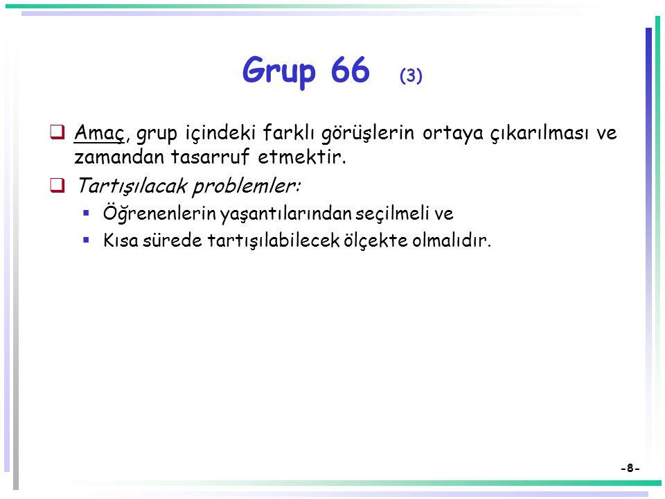 -7- Grup 66 (2)  Grubun çok kalabalık olması ve büyük grup tartışmasının yapılamadığı durumlarda başvurulabilecek bir tartışma tekniğidir.  Grup 6'ş
