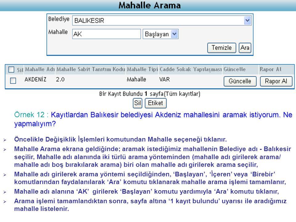 Kayıtlardan Balıkesir belediyesi Akdeniz mahallesini aramak istiyorum.
