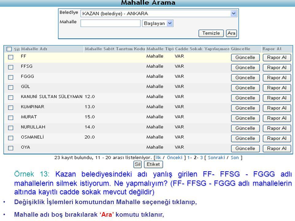 Kazan belediyesindeki adı yanlış girilen FF- FFSG - FGGG adlı mahallelerin silmek istiyorum.