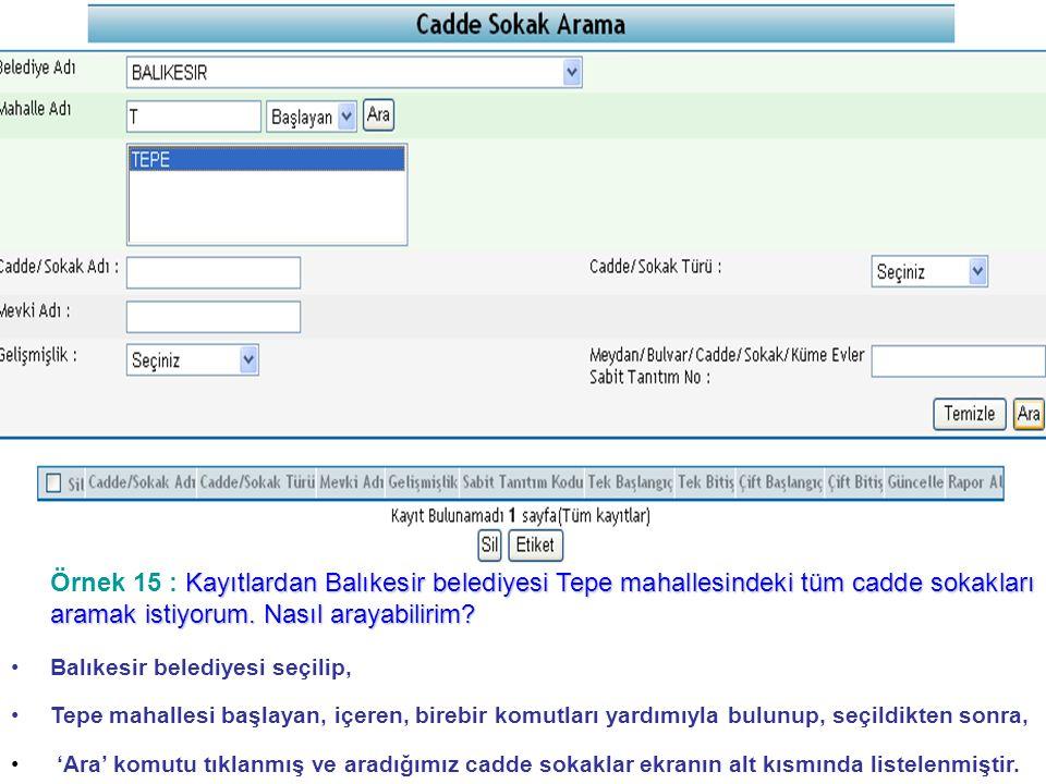 Kayıtlardan Balıkesir belediyesi Tepe mahallesindeki tüm cadde sokakları aramak istiyorum.